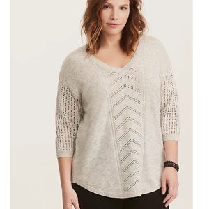Torrid Ivory/Gray Pointelle Tunic Sweater 1